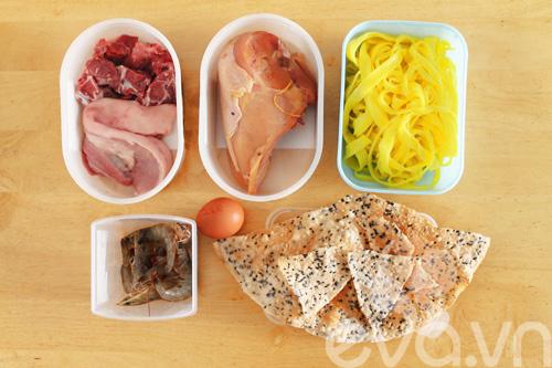 Nguyên liệu cho món mì Quảng